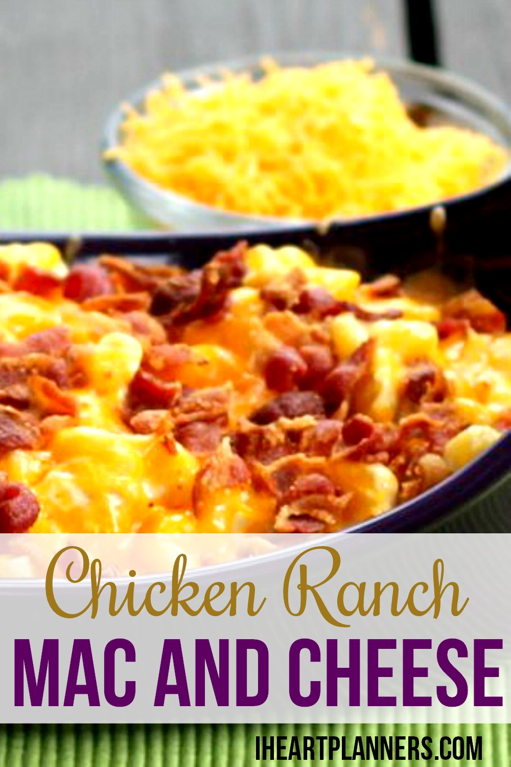 Is there a better combination than chicken, bacon, ranch, and mac and cheese? This is a hearty and delicious family favorite. Enjoy macaroni and cheese with a twist!
