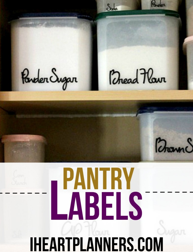 I made my own pantry labels with my Cricut machine and Cricut black vinyl. I love the organization it brings to my kitchen. The pantry labels are a fun font, and I'm ready to cook!
