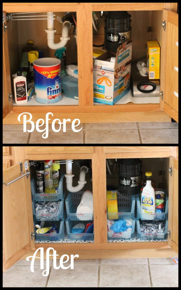 under sink cabinet organization i heart planners. Black Bedroom Furniture Sets. Home Design Ideas