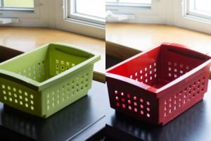 Spray Paint Plastic Bins