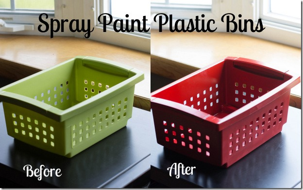 spray paint plastic bins i heart planners