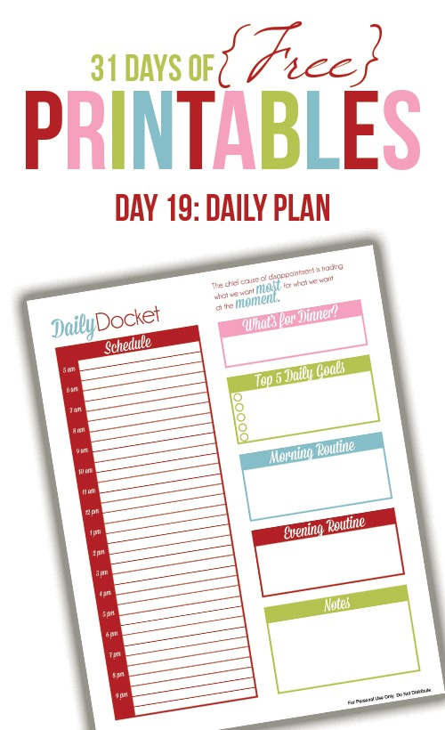 Daily Planner Printable (Day 19) - I Heart Planners