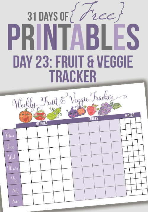 image relating to Printable Fruit and Vegetables known as Fruit and Veggie Tracker Printable (Working day 23) - I Center Planners