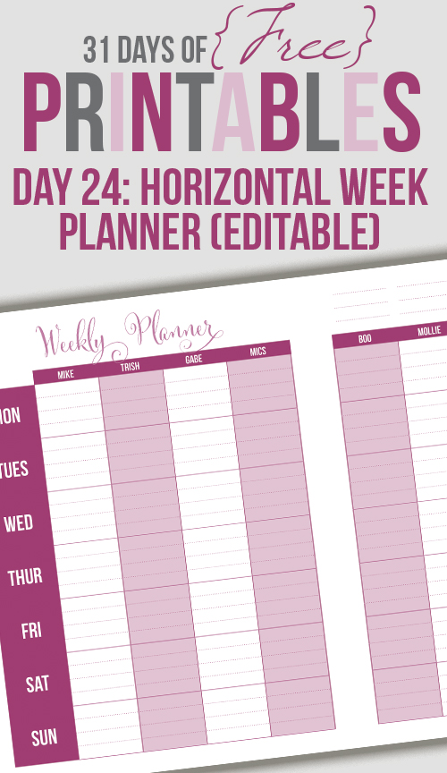 Horizontal Weekly Printable (Day 24)