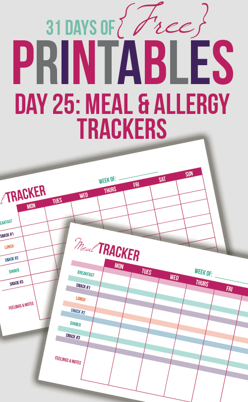 Meal Tracker Printable (Day 25)