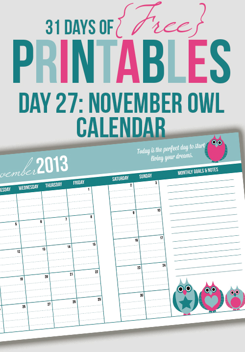 November Owl Calendar Printable (Day 27)