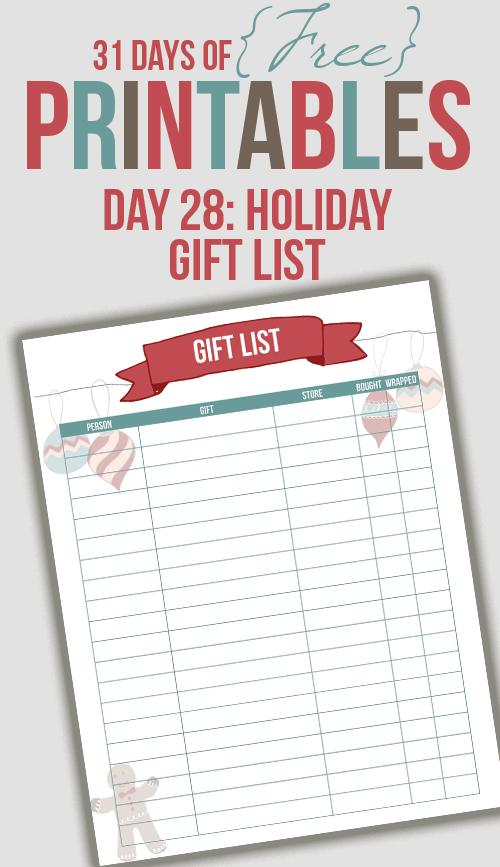 Gift List Printable (Day 28)