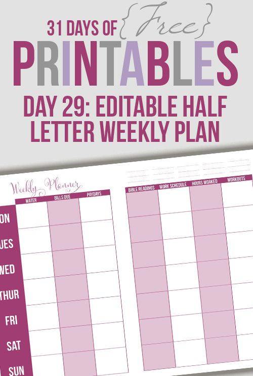 Half Letter Horizontal Weekly Planner (Day 29)