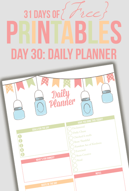 Daily Planner Printable (Day 30) - I Heart Planners