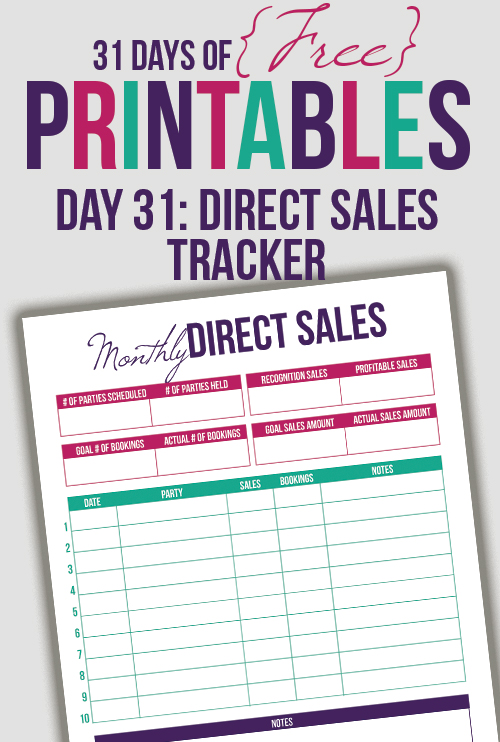 Direct Sales Tracker Printable (Day 31) - I Heart Planners