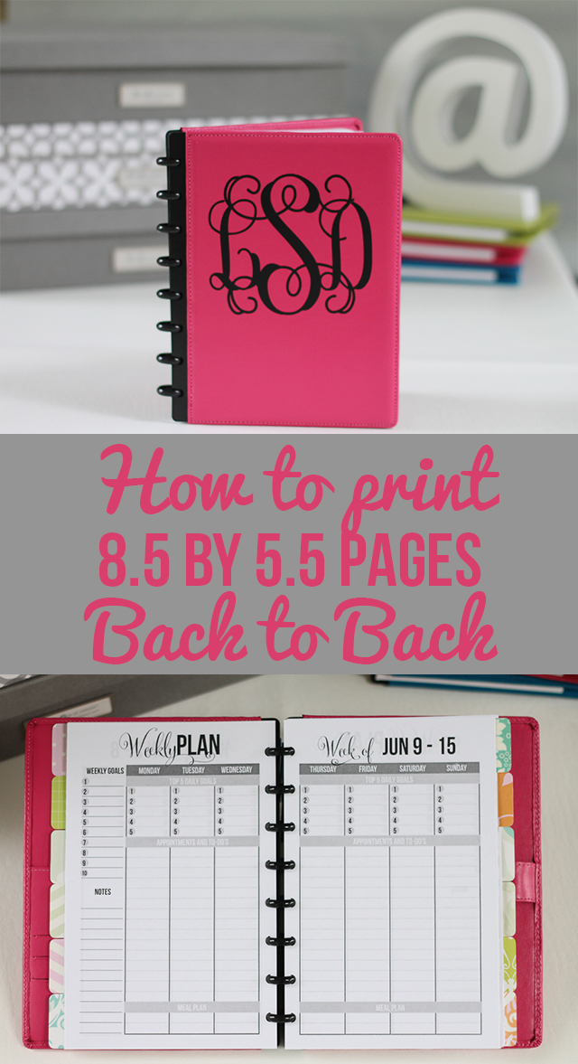 How to Print 8.5 by 5.5 Planner Pages - I Heart Planners