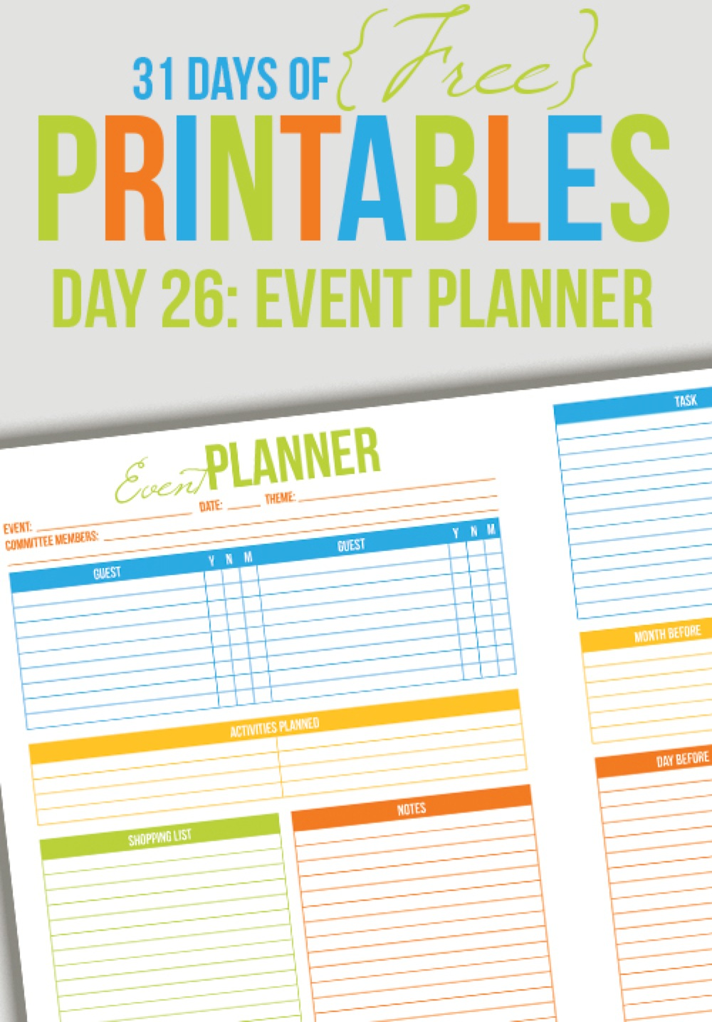 picture about Party Planner Templates named Party Planner Printable (Working day 26) - I Middle Planners
