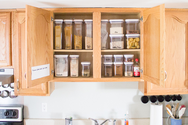Cabinet Organization with Repositionable Labels - I Heart Planners