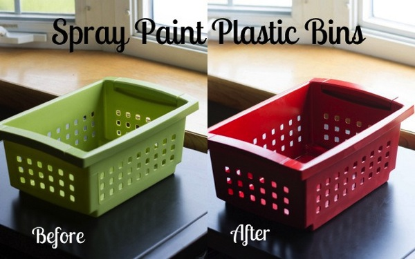 Unify your plastic bins by spray painting them!