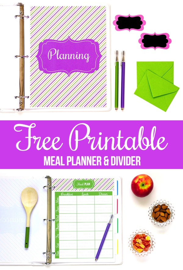 Free Printable Meal Planner and Divider Page