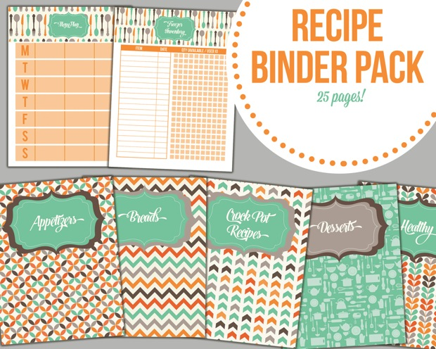graphic about Free Printable Recipe Binder known as Recipe Binder Pack - I Centre Planners