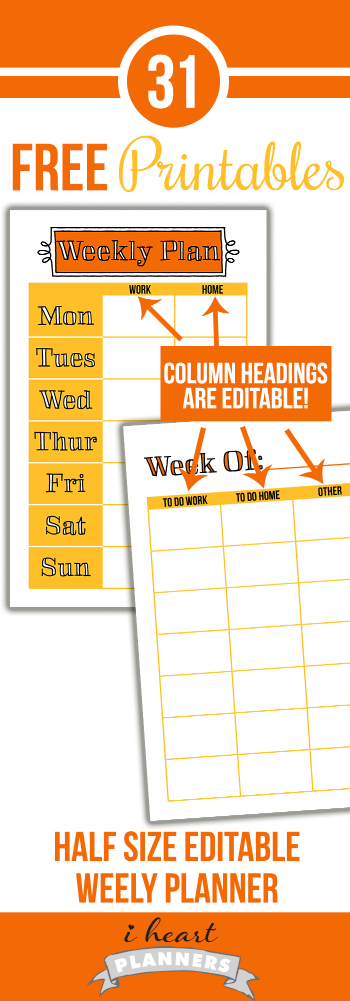 image regarding Discbound Planner Printables identified as Weekly Planner Printable - 50 percent Dimension Editable (Working day 3) - I