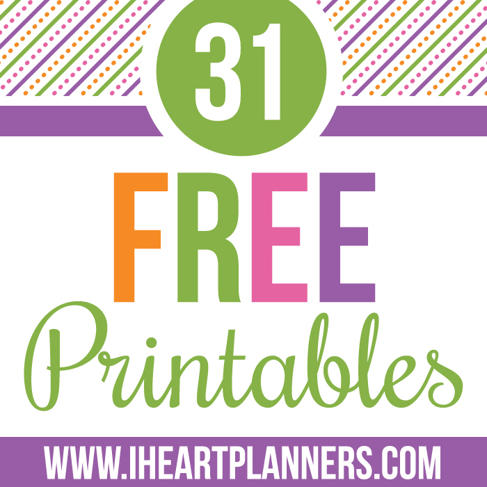 31 free organizing and planning printables! You can even request to have a free printable custom designed just for you.
