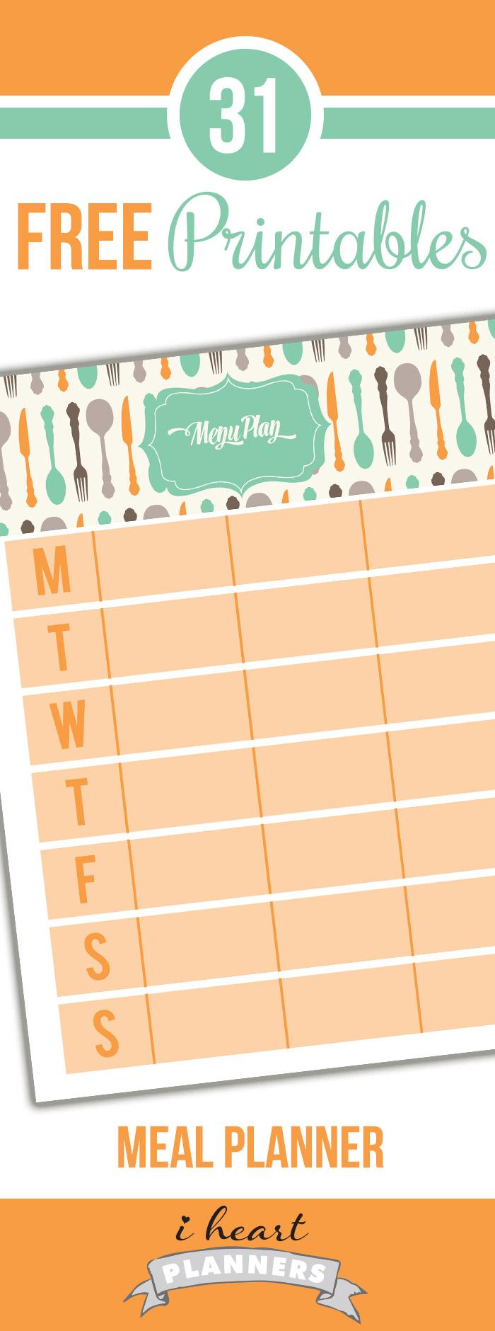 FREE Weekly Menu Planner