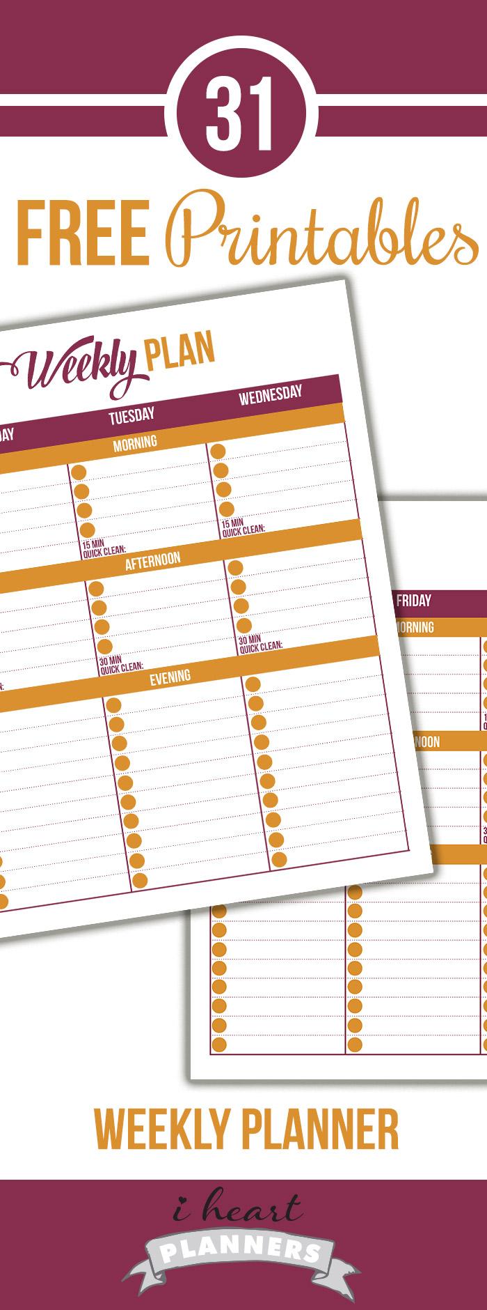FREE Weekly Schedule Printable