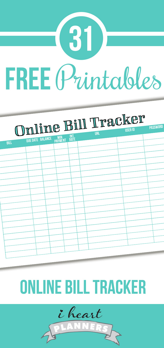 FREE Online Bill Tracker Printable