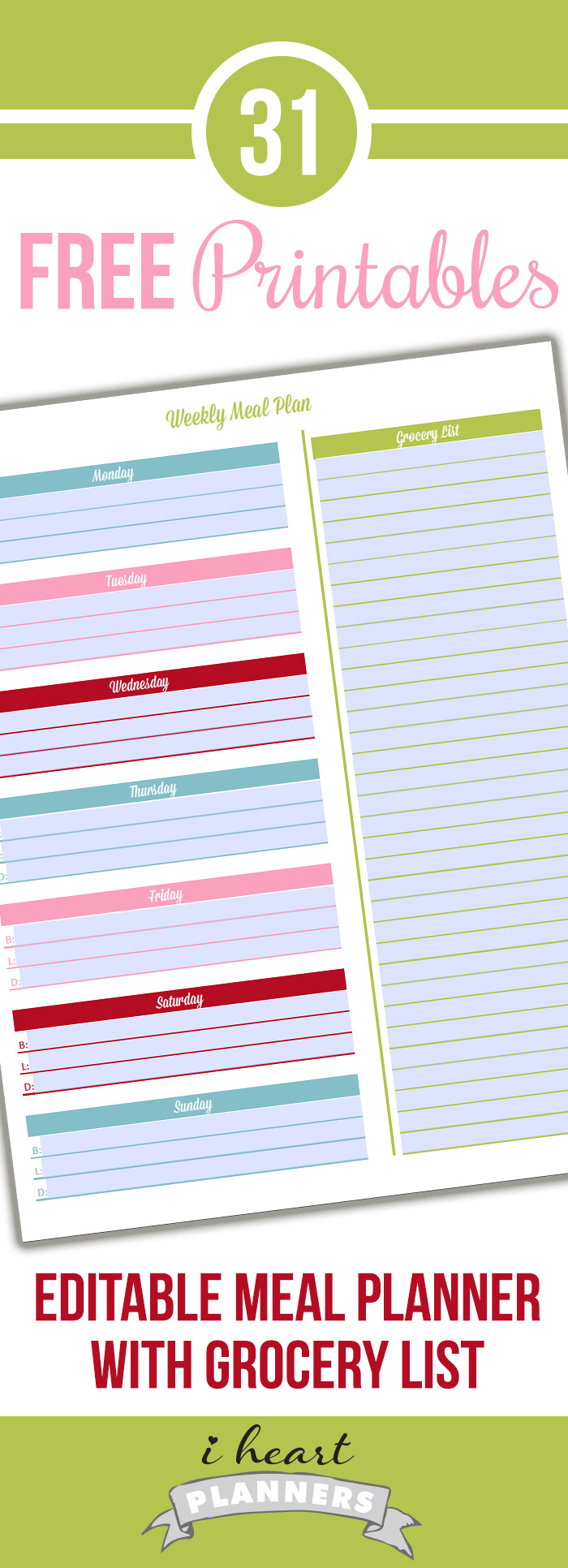 Day 20: Editable Meal Planner with Grocery List - I Heart Planners