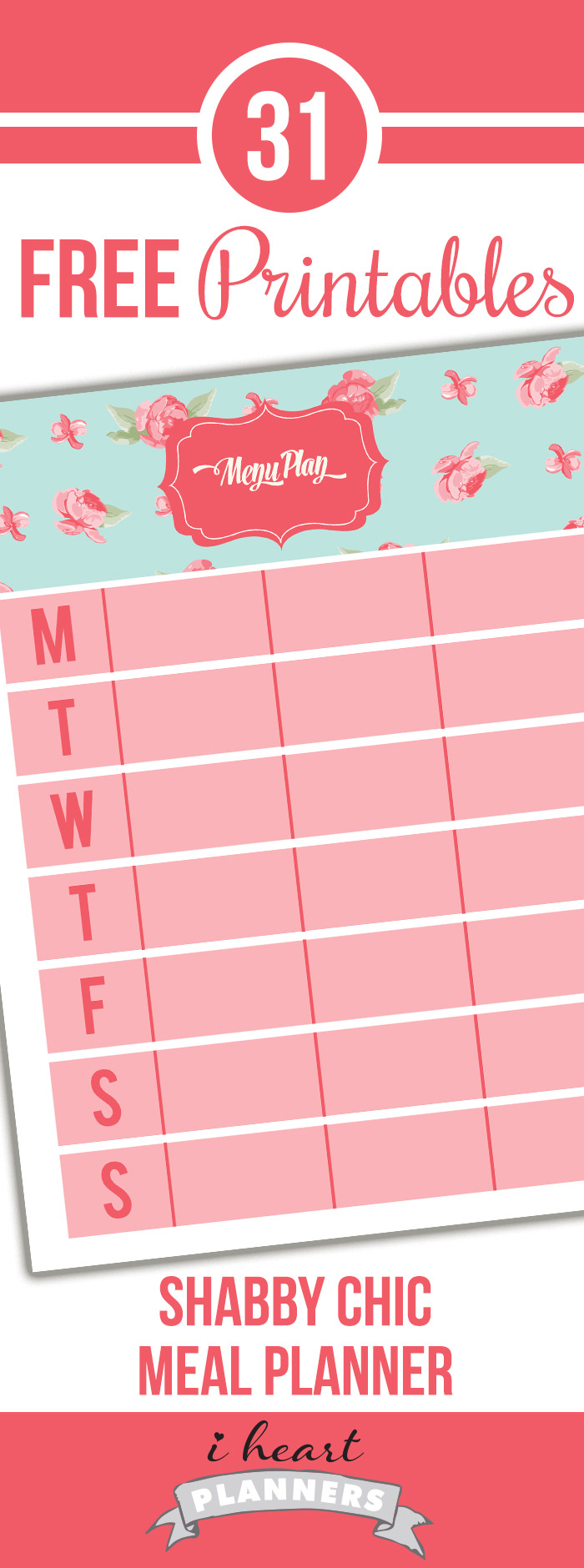 FREE Weekly Menu Planner in a shabby chic style