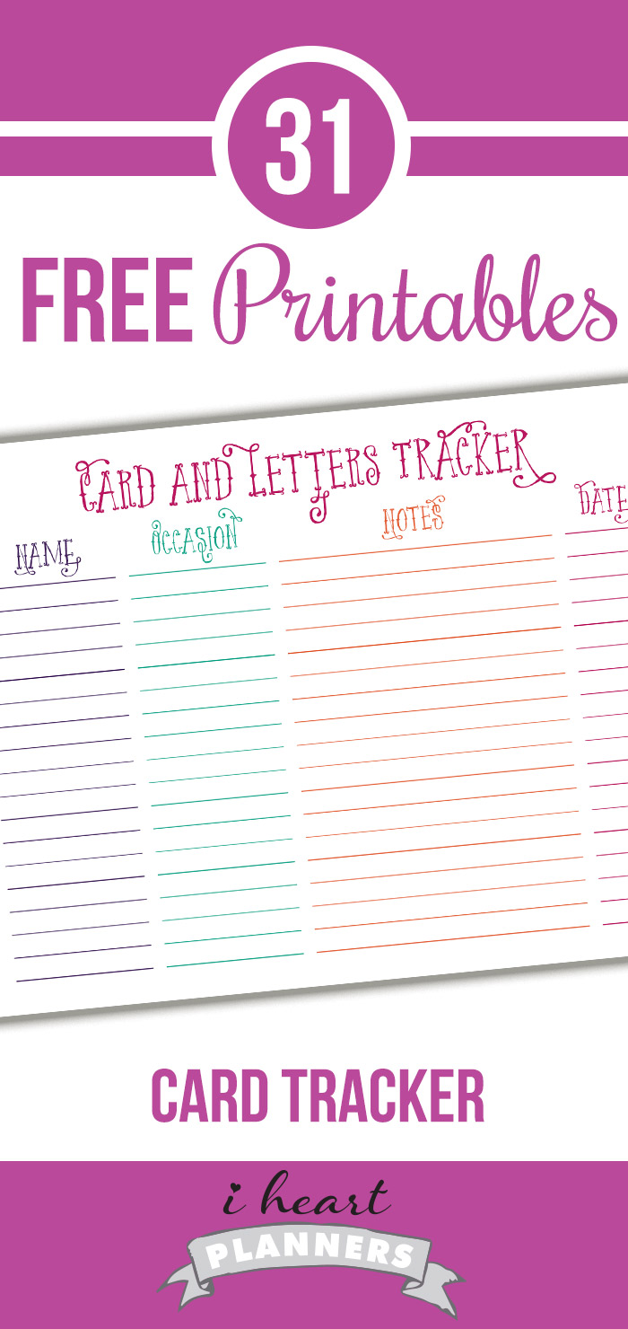 Free card and letter tracker printable - keep track of the cards you need to send