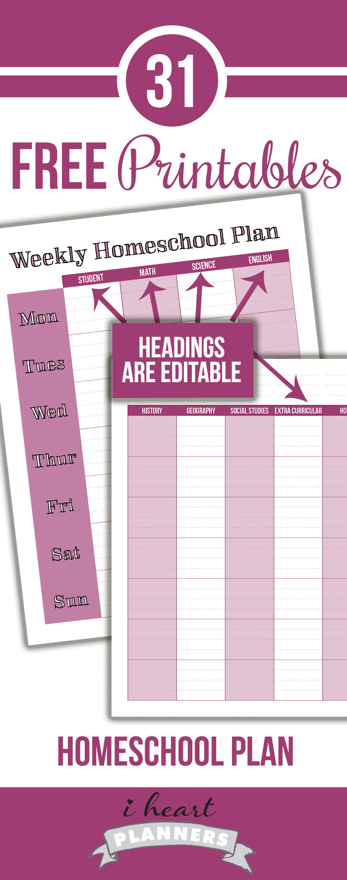 Free homeschool planner - keep track of your homeschool lesson plans each week. The column headings are editable, so you can plan the subjects you need.