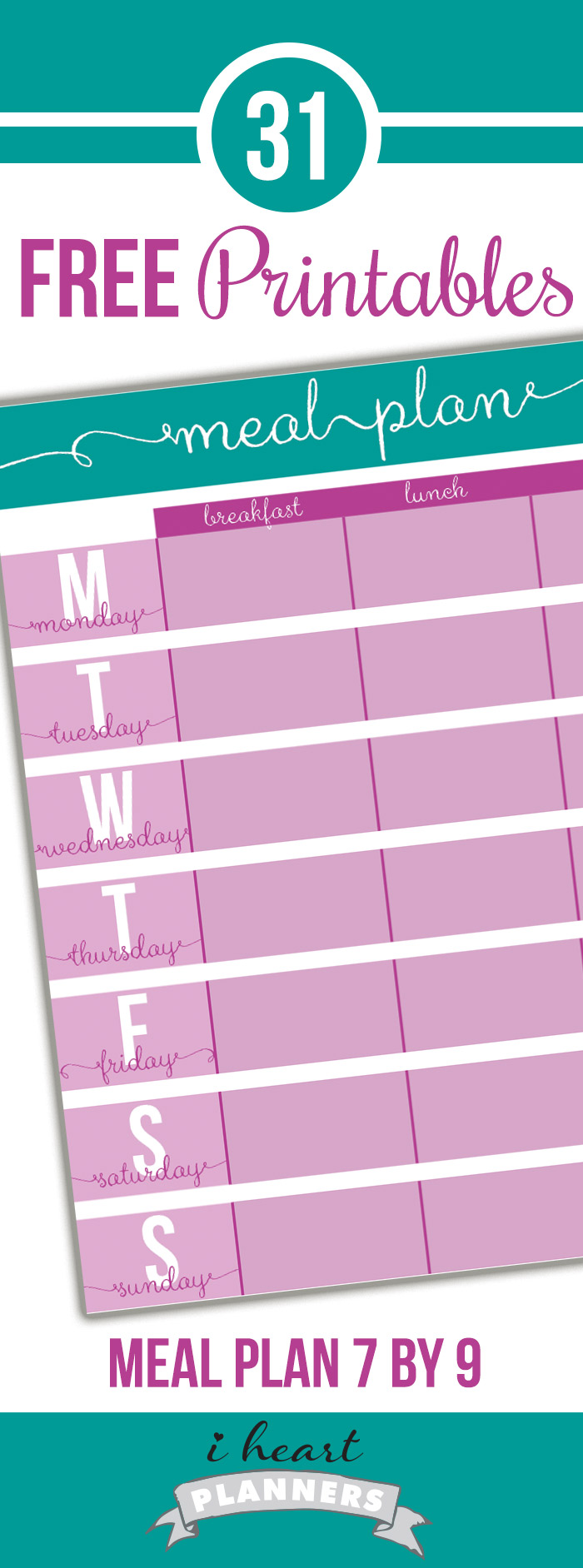 free printable menu planner to go in life planners like erin condren or plum paper