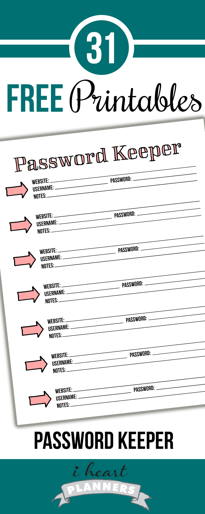 picture relating to Password Printables called Working day 6: Pword Keeper - I Centre Planners