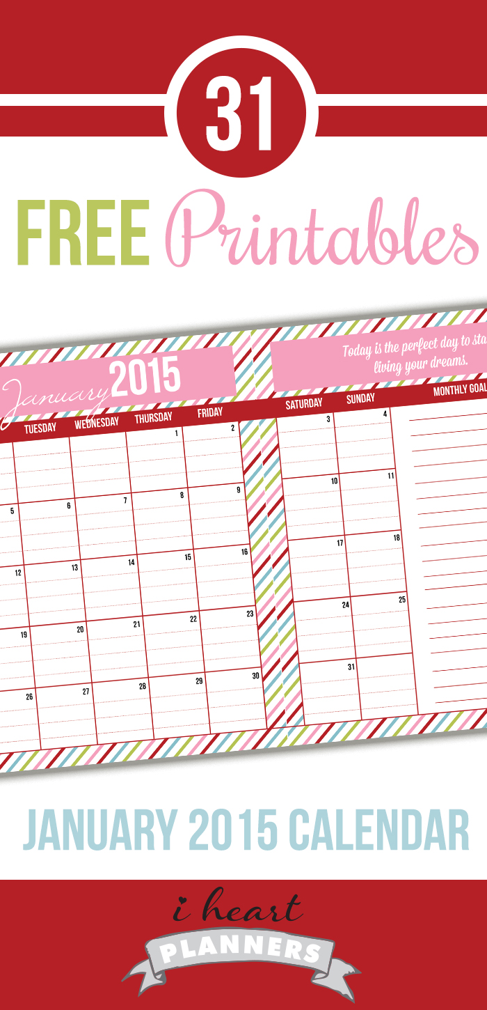 January Calendar Planner : Day january calendar i heart planners