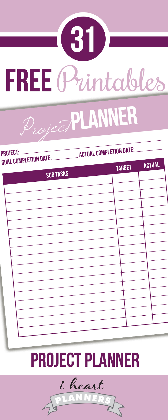 Free printable project planner!
