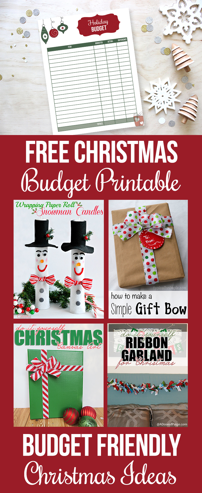 Free Christmas budget printable and frugal Christmas gift and decor ideas.