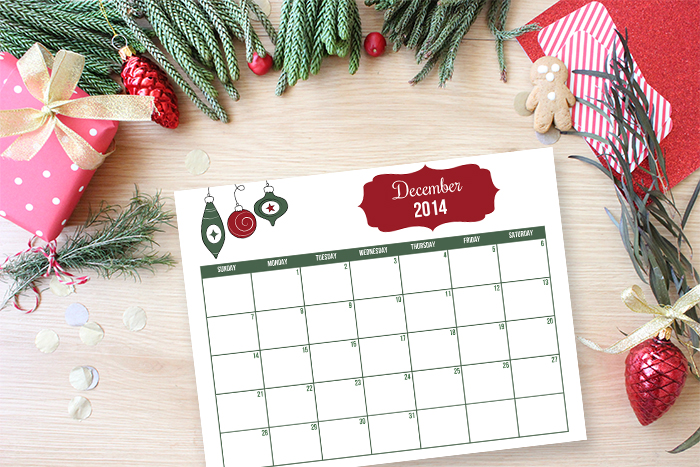 Free Printable December monthly calendar for holiday planning.