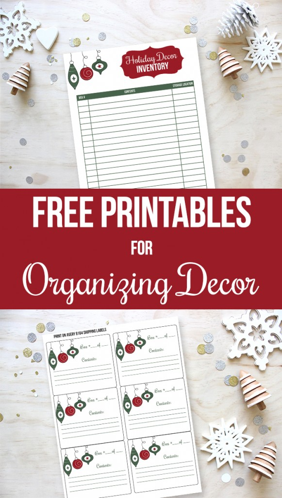 Free printables for organizing your holiday decor - includes free printable holiday decor labels and Christmas decor inventory sheet.