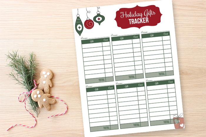 Free printable gift tracker