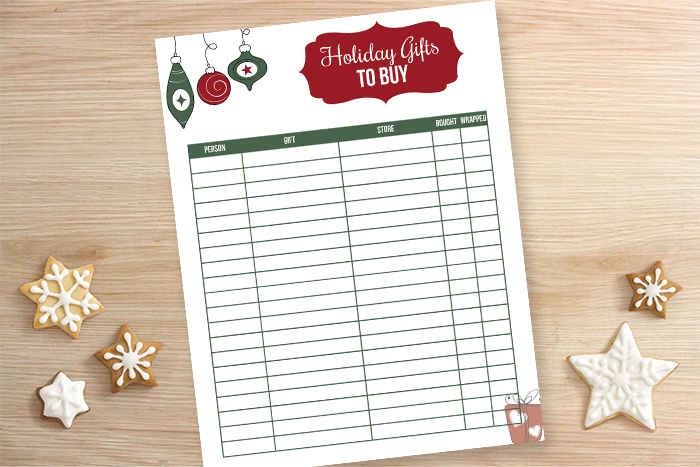Gift Tracker Printable