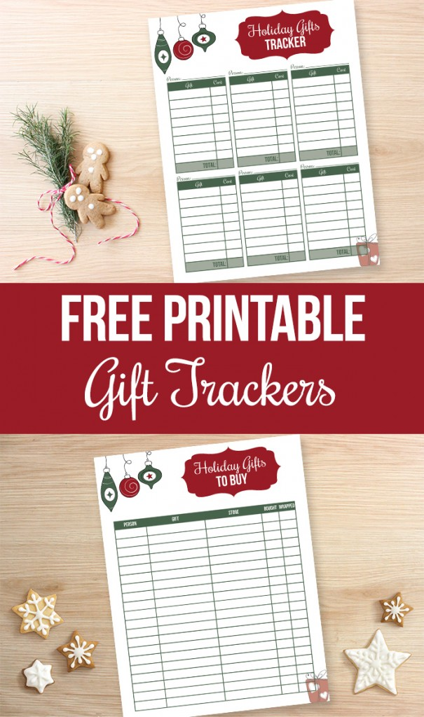 Holiday gift tracking printables