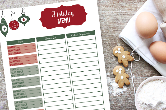 Holiday Menu Planner Printable (Step 5)