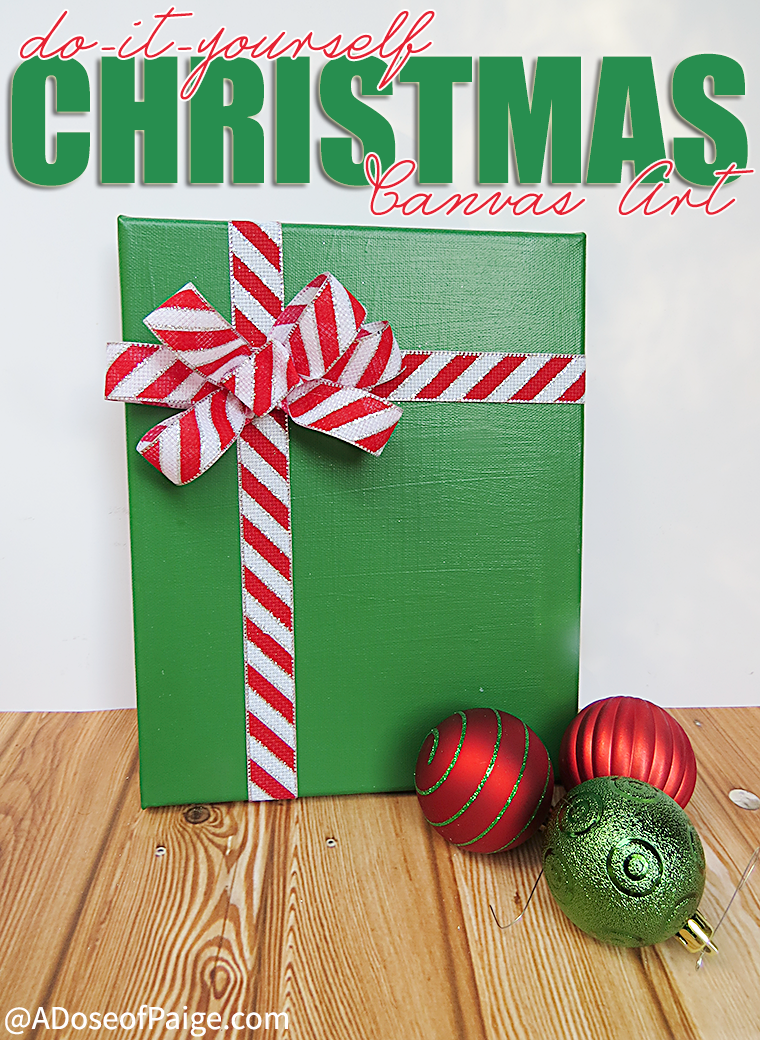DIY Christmas canvas art - great budget Christmas decor