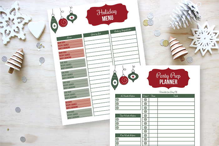 Free holiday party prep printable and holiday menu planner