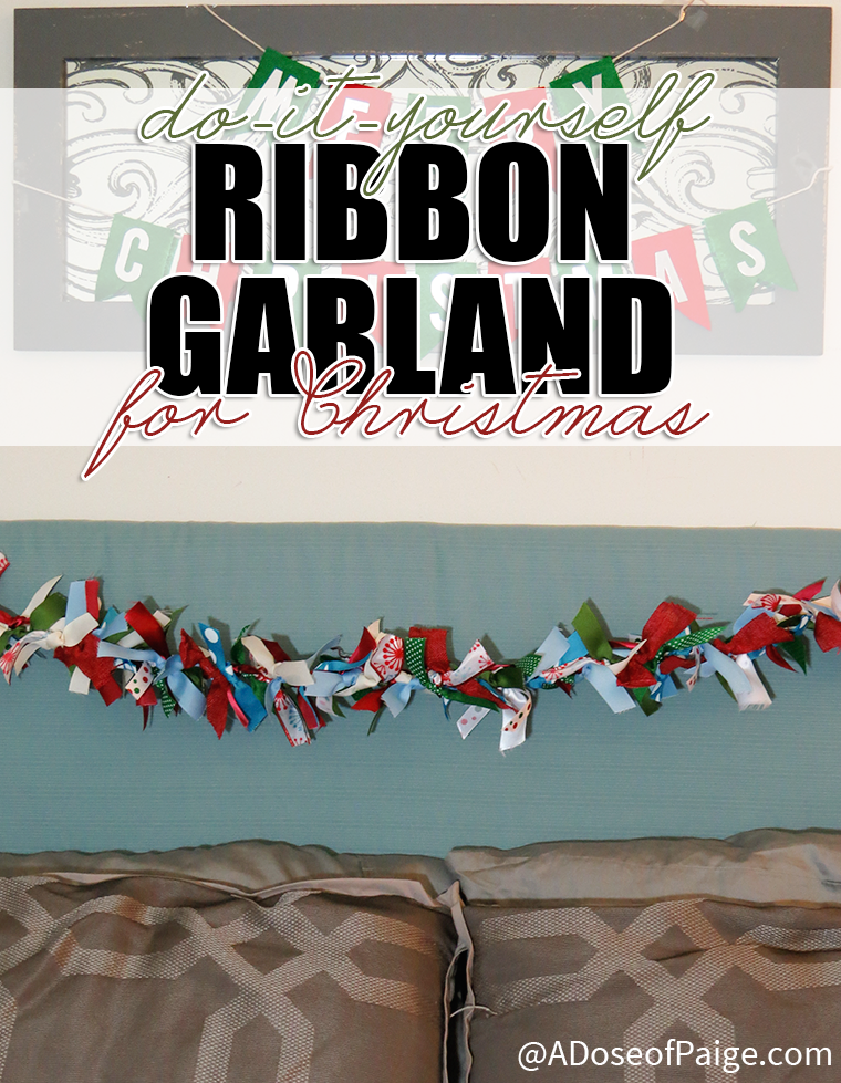 Frugal DIY ribbon garland for Christmas decoration  - great of using up extra scraps of ribbon.