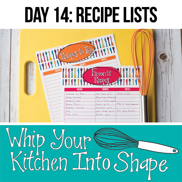 Create a list of your favorite tried and true recipes, and recipes you'd like to try soon in order to make meal planning easier.