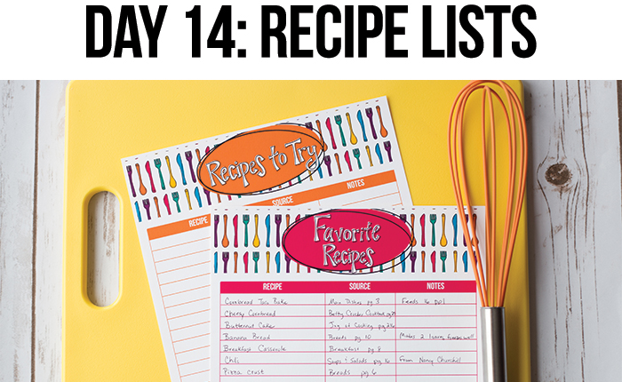Create Lists of Your Favorite Recipes