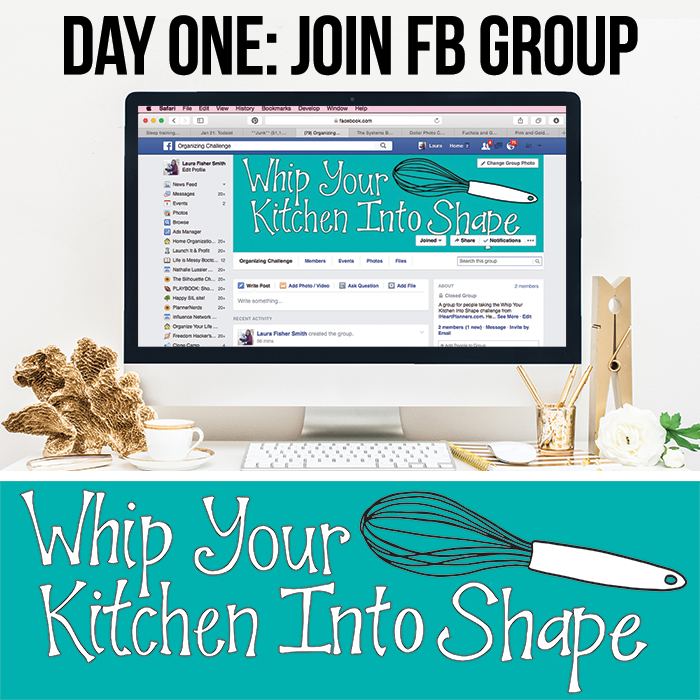 Whip your kitchen into shape challenge - follow along to get your kitchen organized, recipes all gathered up and organized, and your meal planning streamlined. Star the new year off right!