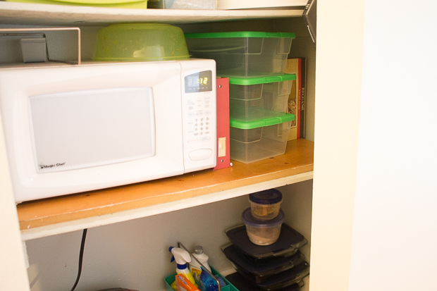 Microwave in the pantry so it doesn't take up valuable counter space