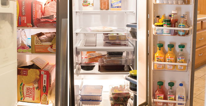 Organized refrigerator and freezer