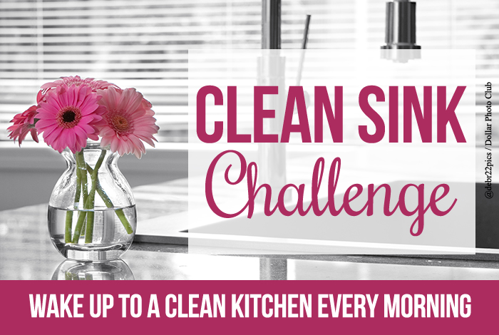 Join us for the clean sink challenge to help you wake up to a clean kitchen every single morning! Also includes a free printable to help keep you motivated.