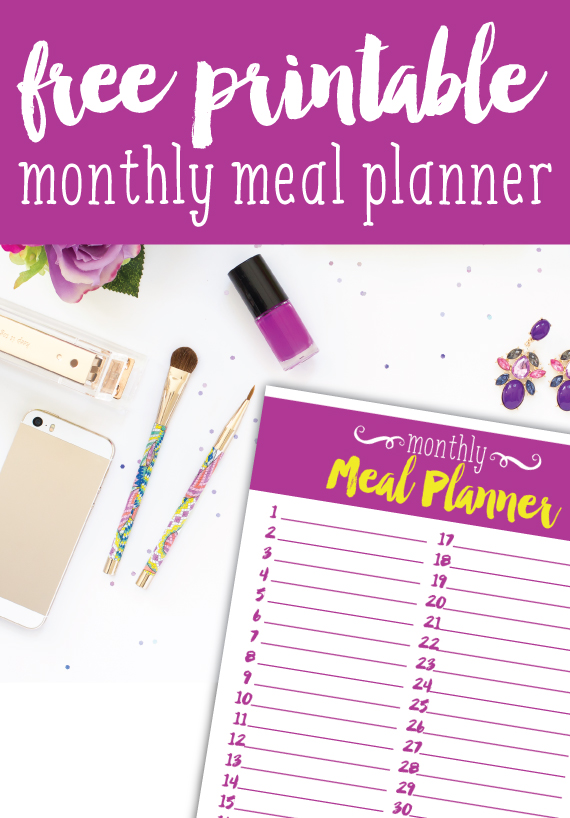 Free printable monthly meal planner